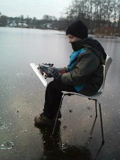 """Første """"mand"""" på isen, torsdag d. 26. januar"""
